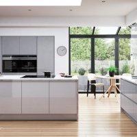 grey gloss handles door, kitchens Northern Ireland, gloss kitchens Newtownards, contemporary kitchens Newtownards, Modern Kitchens Newtownards