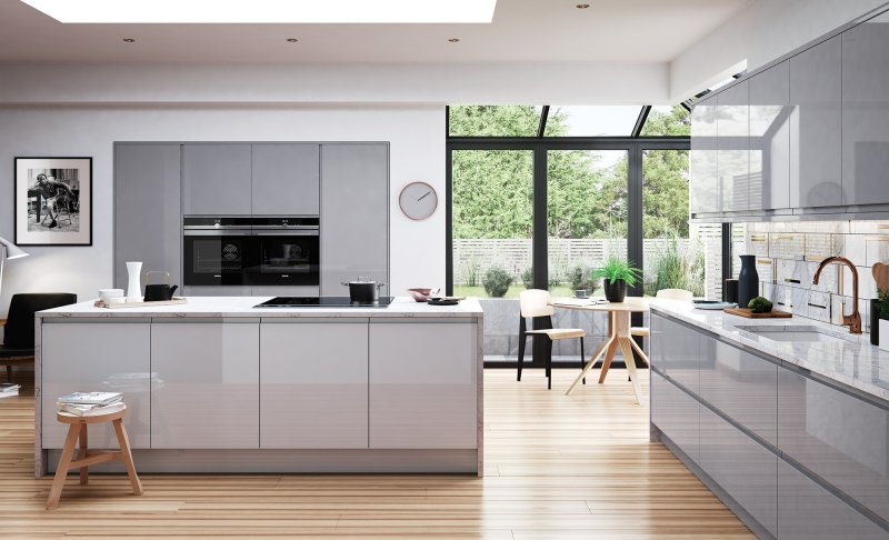 grey gloss handles door, kitchens Northern Ireland, gloss kitchens Newtownards, contemporary kitchens Newtownards, Modern Kitchens Newtownards