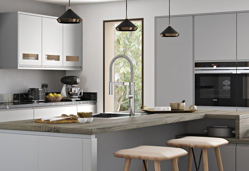 grey matte gloss door, gloss kitchen Newtownards, contemporary kitchens Newtownards, Modern kitchens Bangor